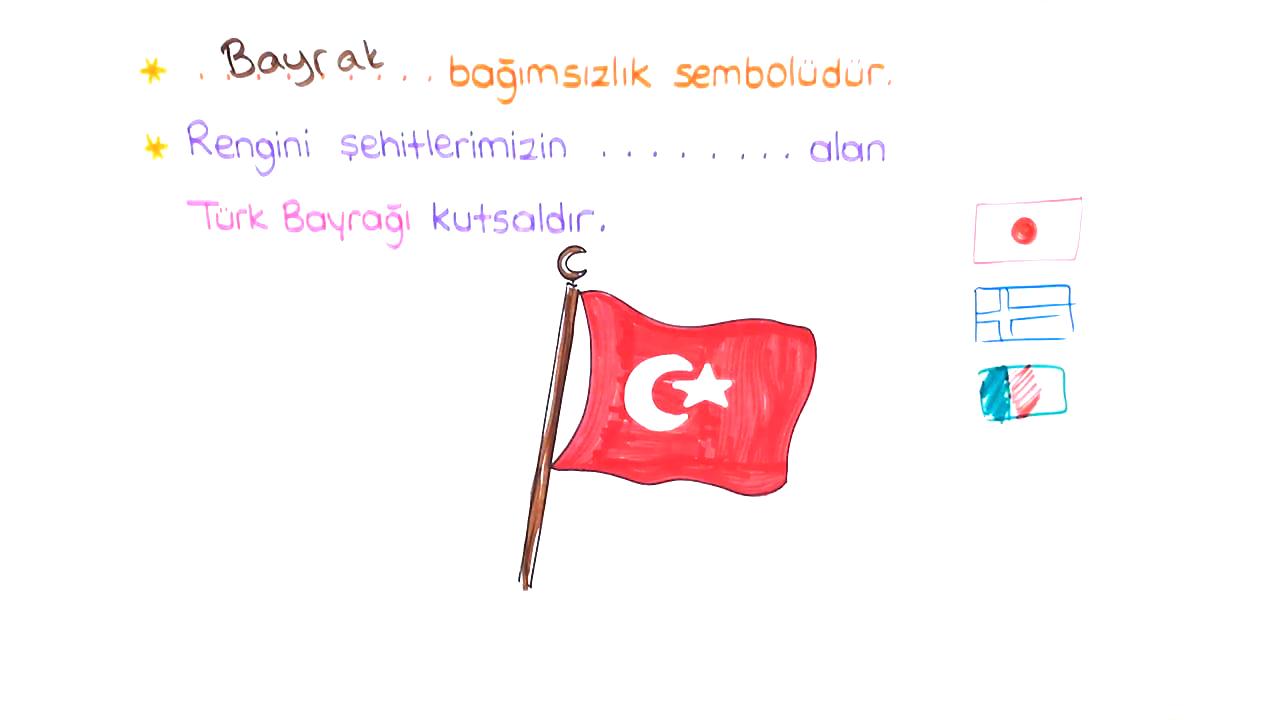 Ortak Değerlerimiz konusu Bağımsızlık Sembolümüz Bayrağımız eğitimi