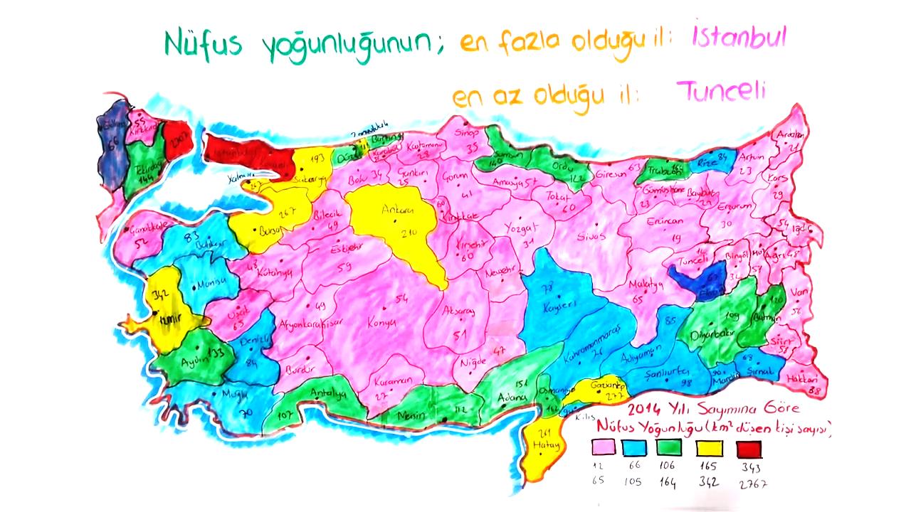 Tablo ve Grafiklerle Ülkemiz konusu Türkiye'de Nüfusun Dağılışı eğitimi