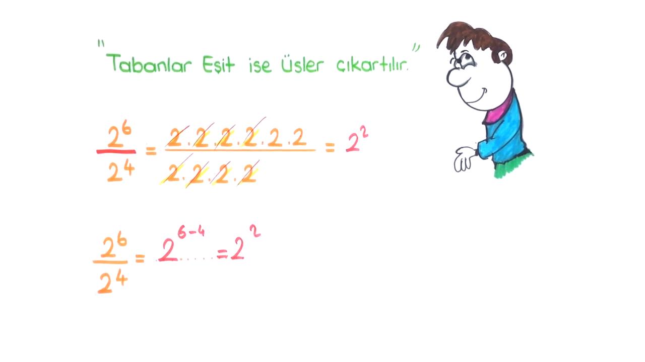 Üslü İfadeler konusu Üslü Sayılarda Bölme 1 eğitimi