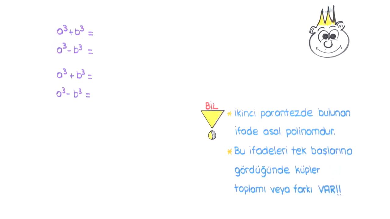 Polinomlar konusu Çarpanlara Ayırma 5 (İki Terimin Küplerinin Toplamı veya Farkı) eğitimi