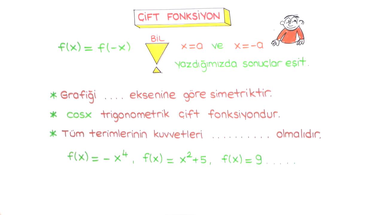 Fonksiyon Kavramı ve Tanımı konusu Fonksiyon Çeşitleri 3 (Eşit, Tek ve Çift Fonksiyon) eğitimi