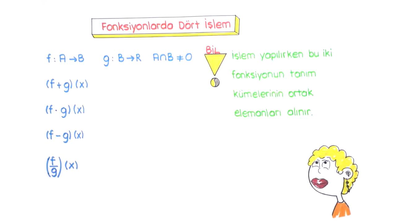 Fonksiyon Kavramı ve Tanımı konusu Fonksiyonlarda Dört İşlem eğitimi
