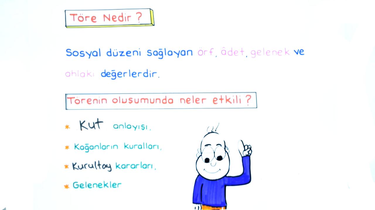 Türklerde Güç ve Yönetim Yapısı konusu İlk Türk Devletlerinde Töre eğitimi