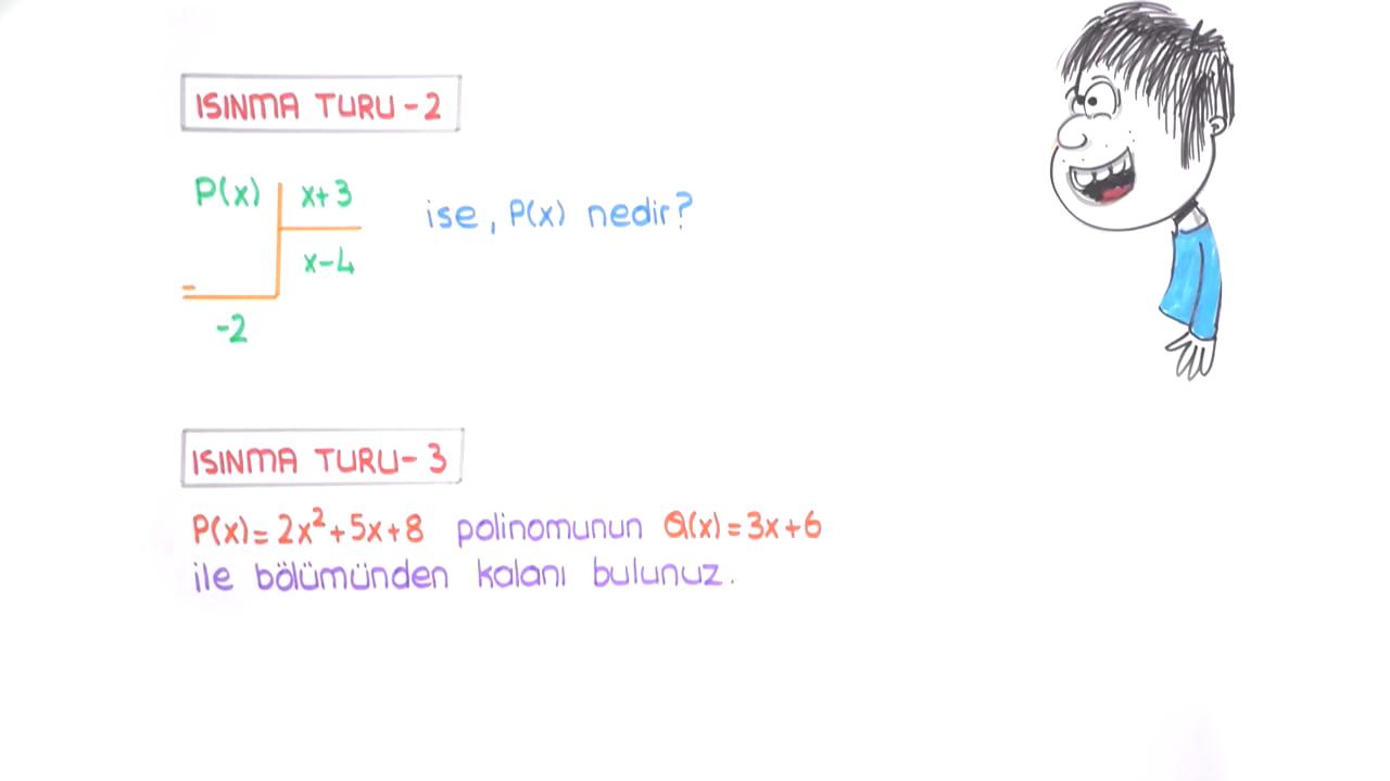 Polinomlar konusu Polinomlarda Bölme İşlemi ve Bir Polinomun Sıfırı eğitimi
